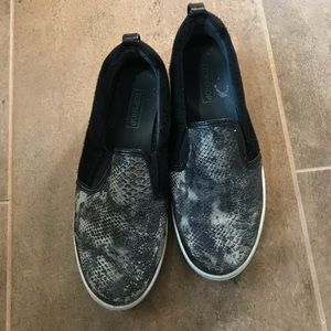 Black/grey Snakeskin Slip ons